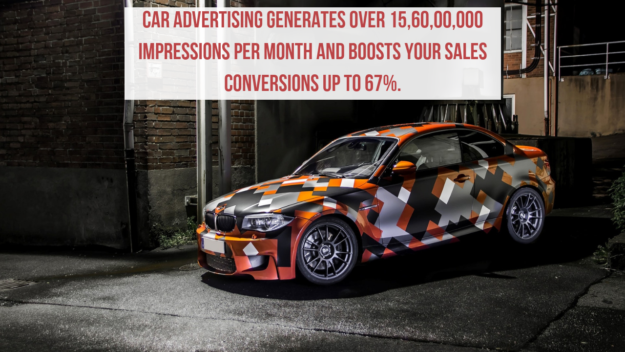 Car advertising generates over 15,60,00,000 impressions per month and boosts your sales conversions up to 67%.